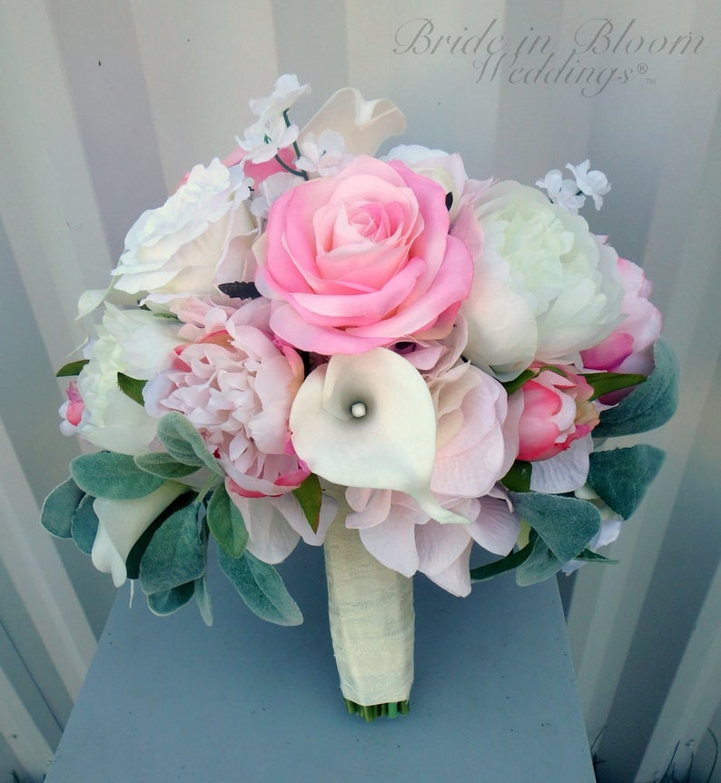Pink peony wedding bouquet