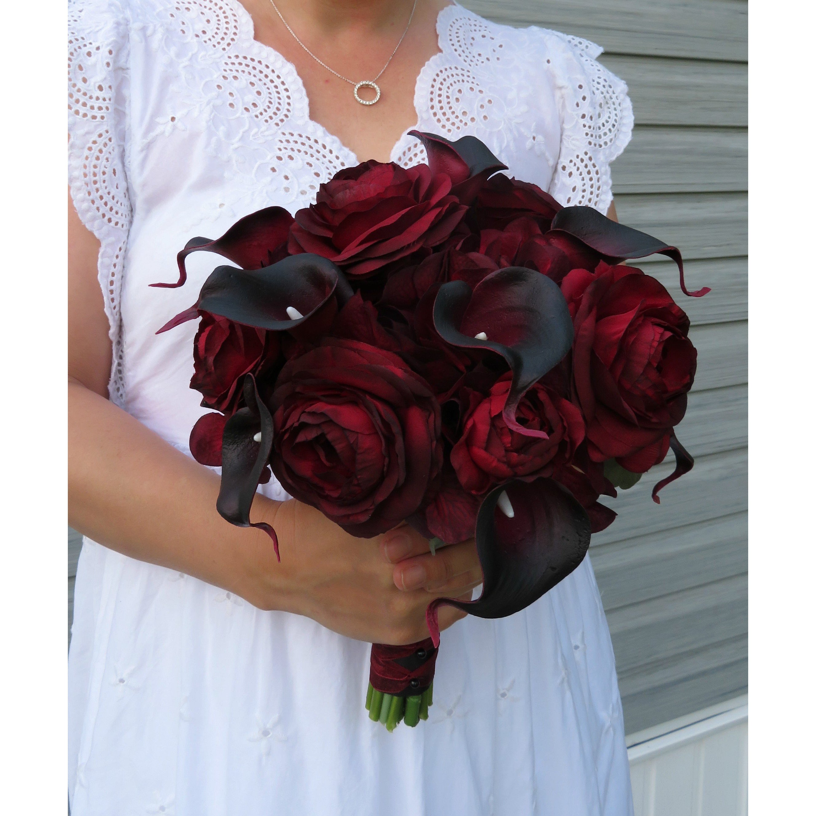 Wedding bouquet burgundy black, DIY Wedding bouquet package with tutorial