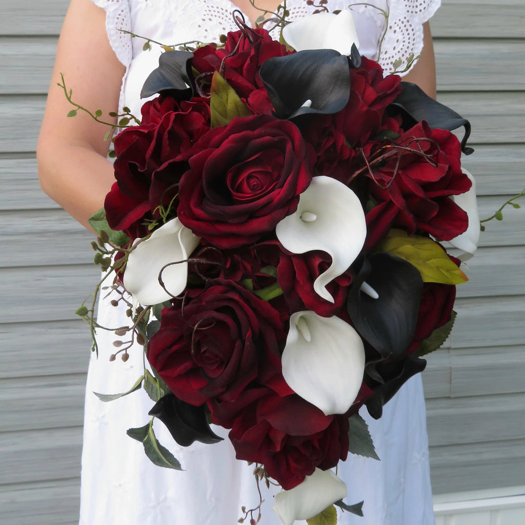 Cascade bouquet - Burgundy black rose Calla lily Wedding bouquet - Silk wedding flowers
