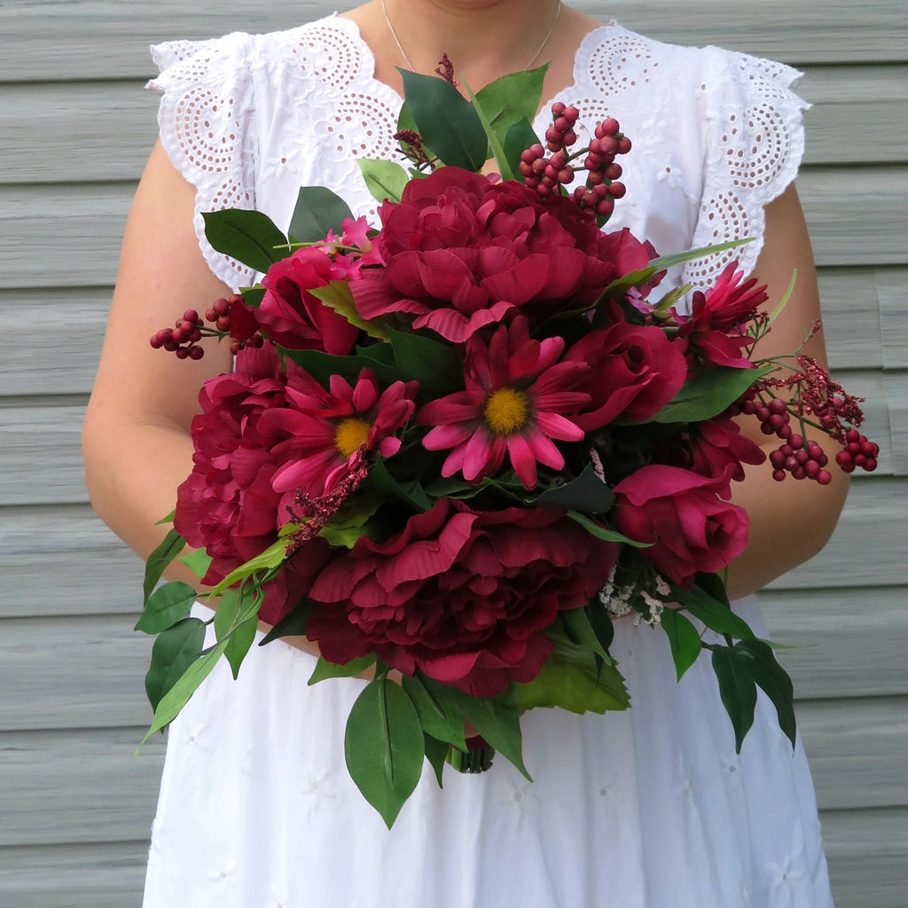 Peony Wildflower bouquet - Burgundy DIY Wedding bouquet package with tutorial
