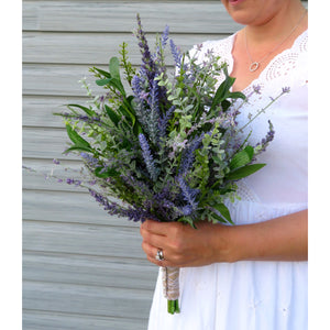 Lavender eucalyptus Wildflower bridal bouquet, DIY Wedding bouquet package with tutorial