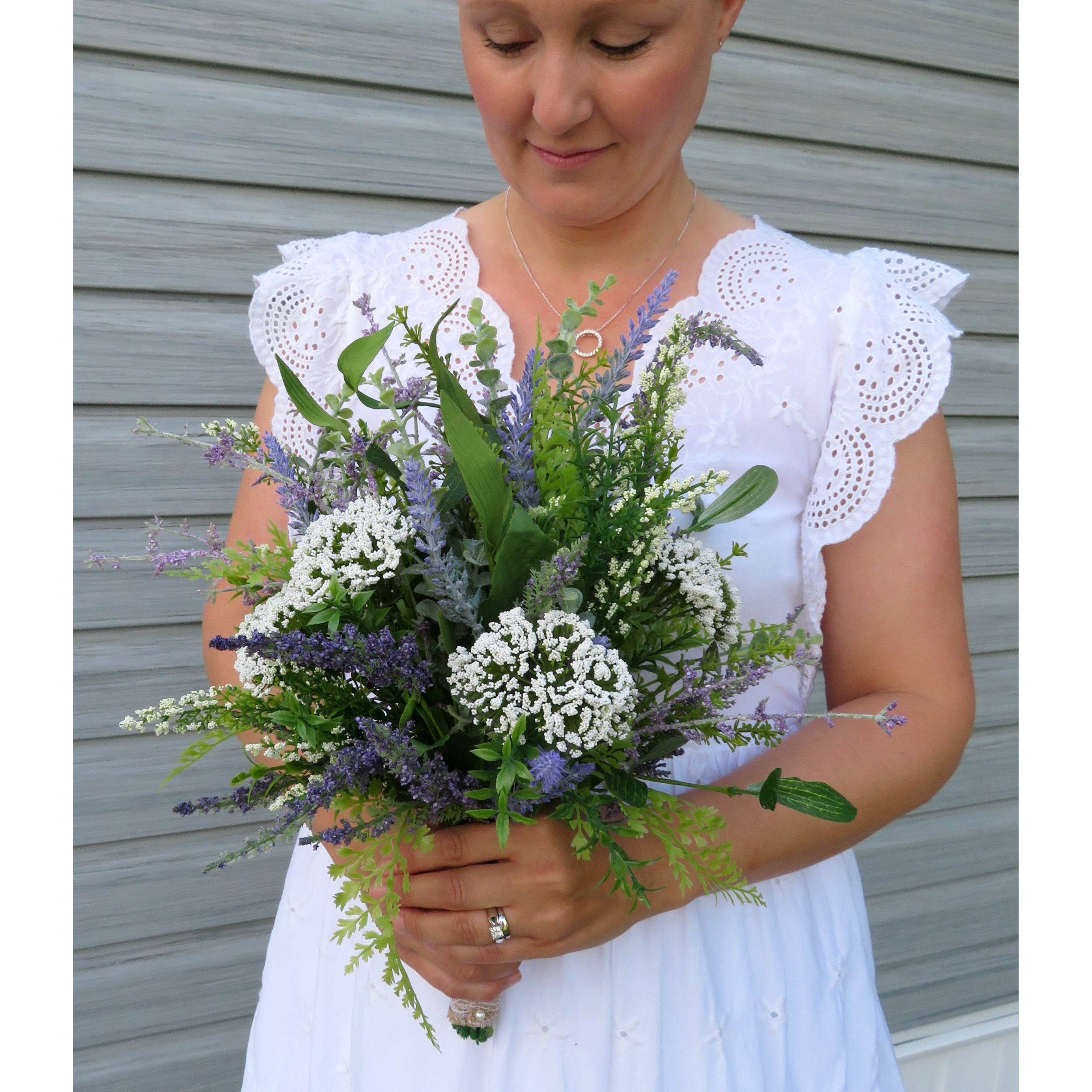 Lavender Wildflower bridal bouquet, DIY Wedding bouquet package with tutorial