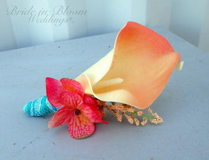 Tropical boutonniere - Coral pink turquoise calla lily boutonniere - Beach Wedding Flowers