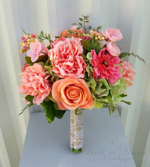 Wedding bouquet, Coral & green DIY Wedding Bouquet package with tutorial