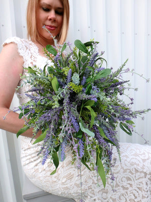 Cascade Lavender eucalyptus Wildflower bridal bouquet - DIY Wedding bouquet package with tutorial