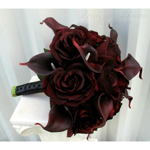 Wedding bouquet burgundy black rose, DIY Wedding bouquet package with tutorial