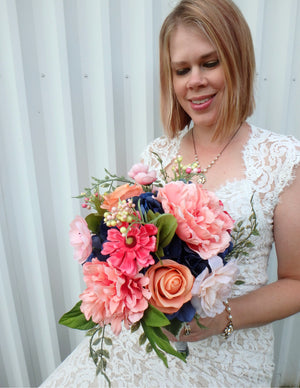 Wildflower wedding bouquet, Navy & Coral peony bouquet, Silk Bridal flowers