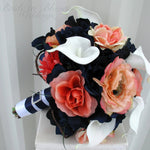 Wedding bouquet - Coral navy white calla lily rose bridal bouquet - Silk Wedding flowers