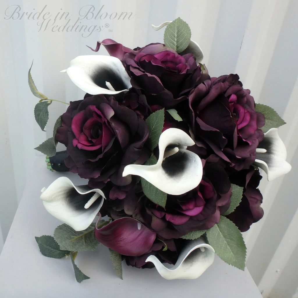 Wedding Bouquet - Plum Rose Black Picasso calla lily Bridal bouquet - Silk wedding flowers