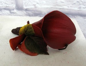 Fall boutonniere, Red calla lily wedding boutonniere, Autumn wedding flowers