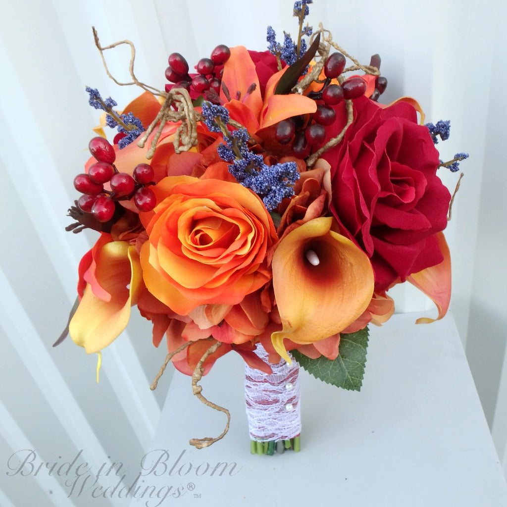 DIY Fall wedding bouquet - Autumn silk wedding flowers - DIY Wedding bouquet package with tutorial