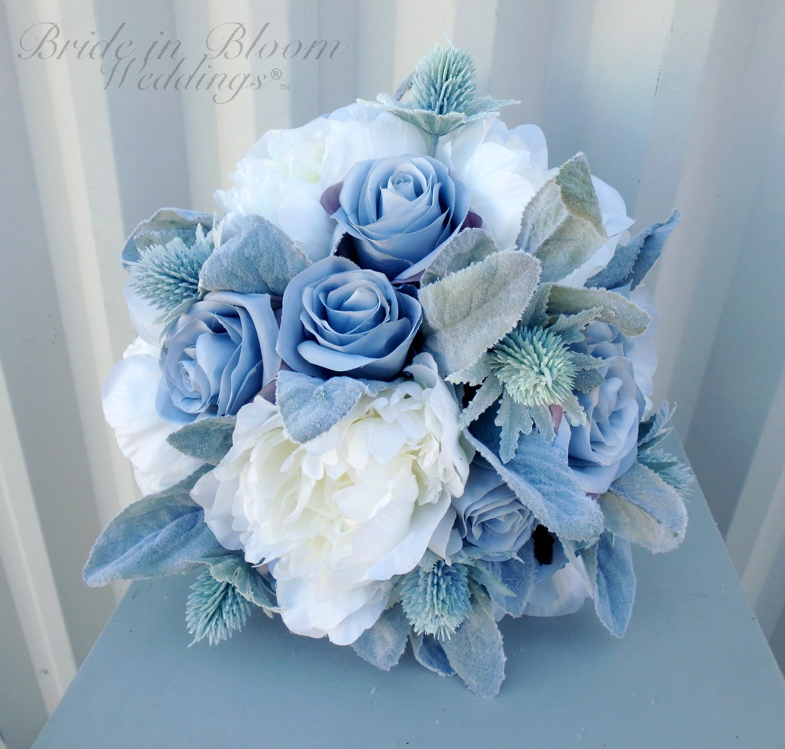 Wedding Bouquet - Silver blue rose Bridal bouquet - Silk Wedding flowers