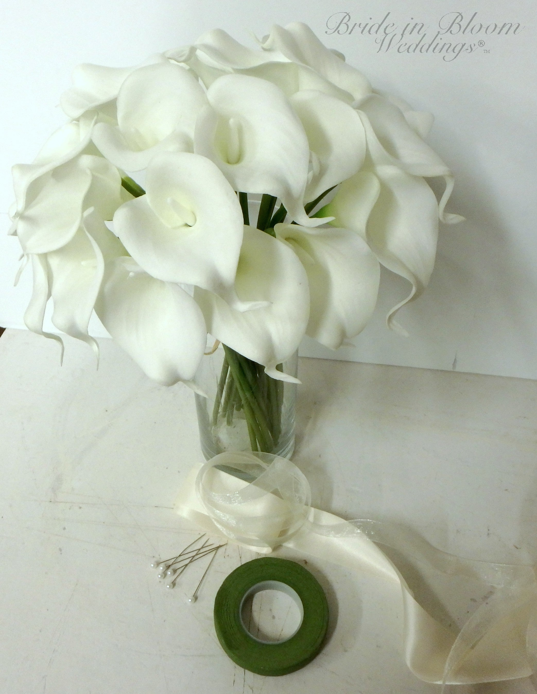 Calla lily wedding bouquet, White real touch calla lilies, DIY Wedding bouquet package with tutorial