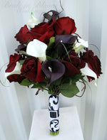 Black baccara rose Wedding bouquet - Calla lily Bridal bouquet - Silk Wedding flowers