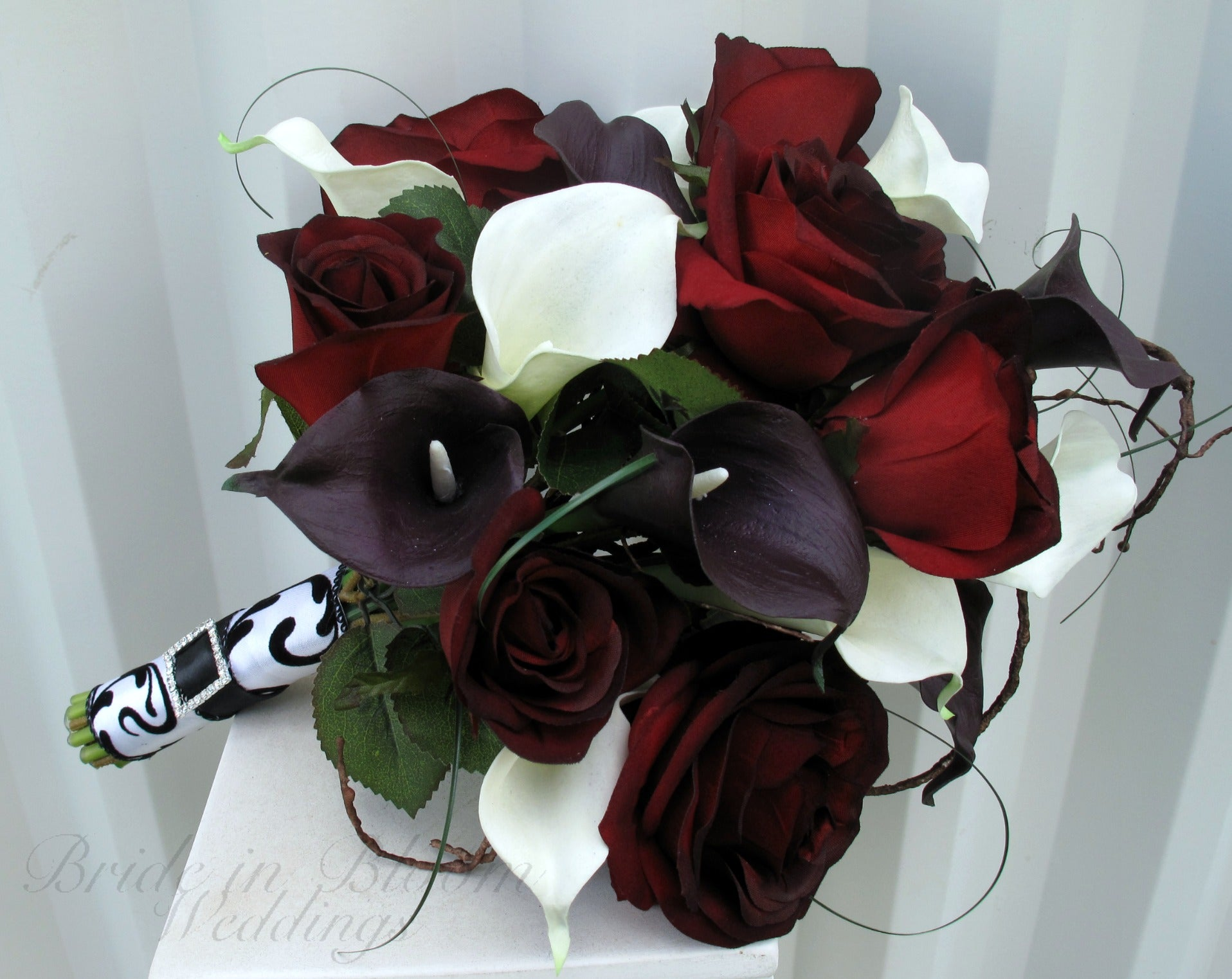 Black Baccara Rose Wedding Bouquet Calla Lily Bridal Bouquet