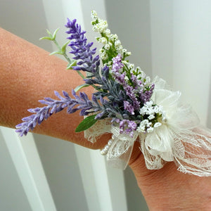 DIY Wildflower wrist corsage, Lavender DIY wedding corsage
