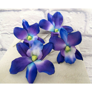 Blue orchid hair pins