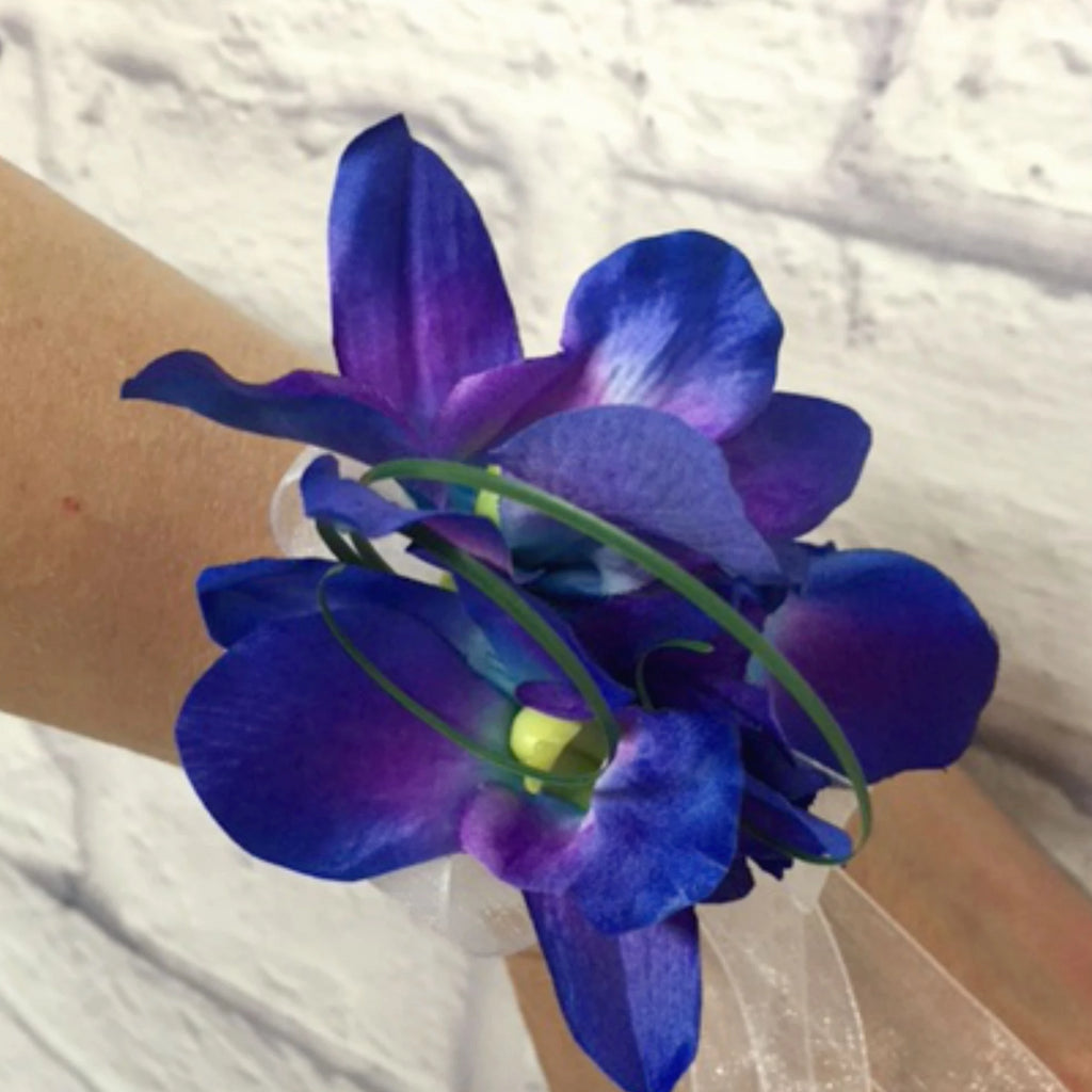 Blue orchid wrist corsage - Mother of the bride Wedding corsage