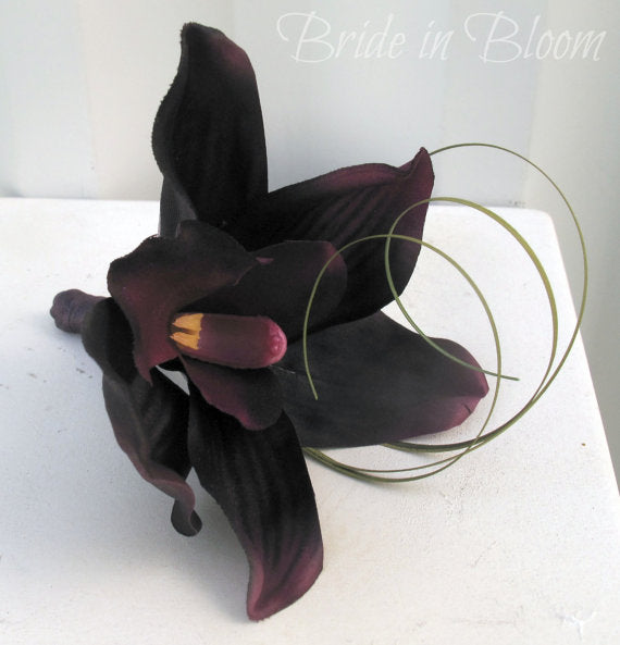 Wedding boutonniere - Plum purple orchid Boutonniere