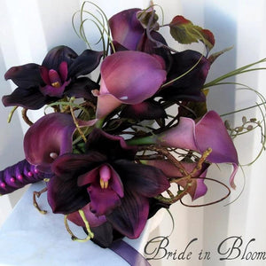 Plum Wedding Bouquet - Real touch calla lily orchid Bridal bouquet - Silk Wedding flowers