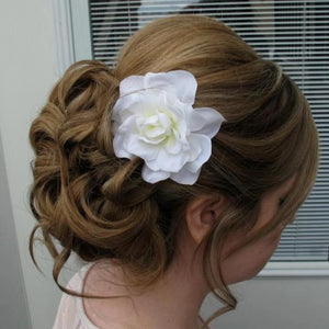 White gardenia hair pin