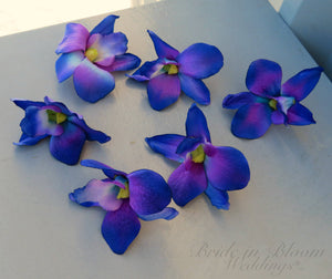Blue orchid Galaxy orchid blooms, Wedding decorations, DIY Silk flowers