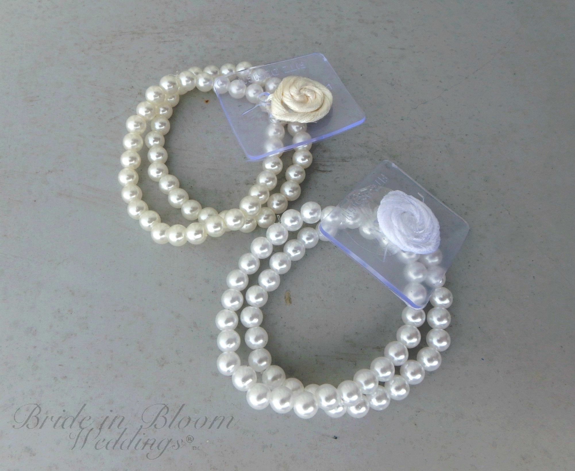 DIY wrist corsage, White pearl bead bracelet, DIY wedding supplies