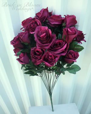 Plum roses - 18 Plum purple rose flower bush - DIY silk flowers
