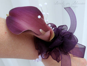 Plum calla lily Wrist corsage - Wedding corsages - Real touch flower Prom corsage