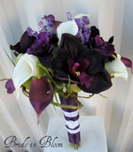 Wedding Bouquet - Plum calla lily orchid Silk Bridal bouquet