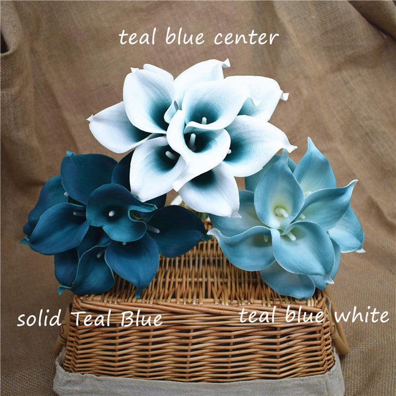 Navy Blue Picasso Real Touch Calla lilies - Wedding Bouquets - DIY silk Wedding Flowers