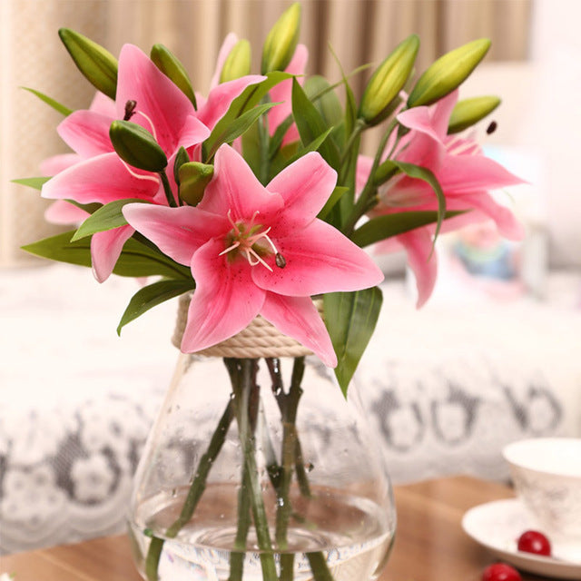 Real touch Lily Flower 1pc 3 heads, PVC Artificial Silk flowers, Garden Wedding, Home Decoration
