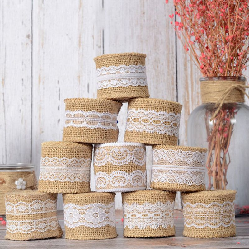 Natural Burlap Lace Ribbon 2m, Rustic Vintage Wedding Decor, DIY wedding supplies