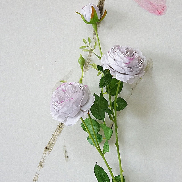 Rose Artificial Flowers - Wedding Decorations Home Decor  - Lavender grey Silk real touch flowers