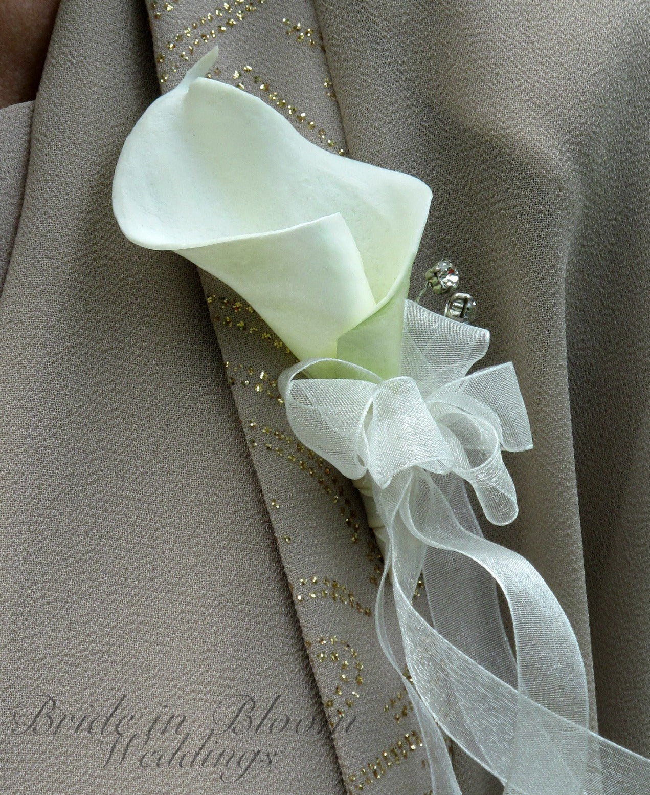 Real touch Calla lily corsage - DIY wedding corsage