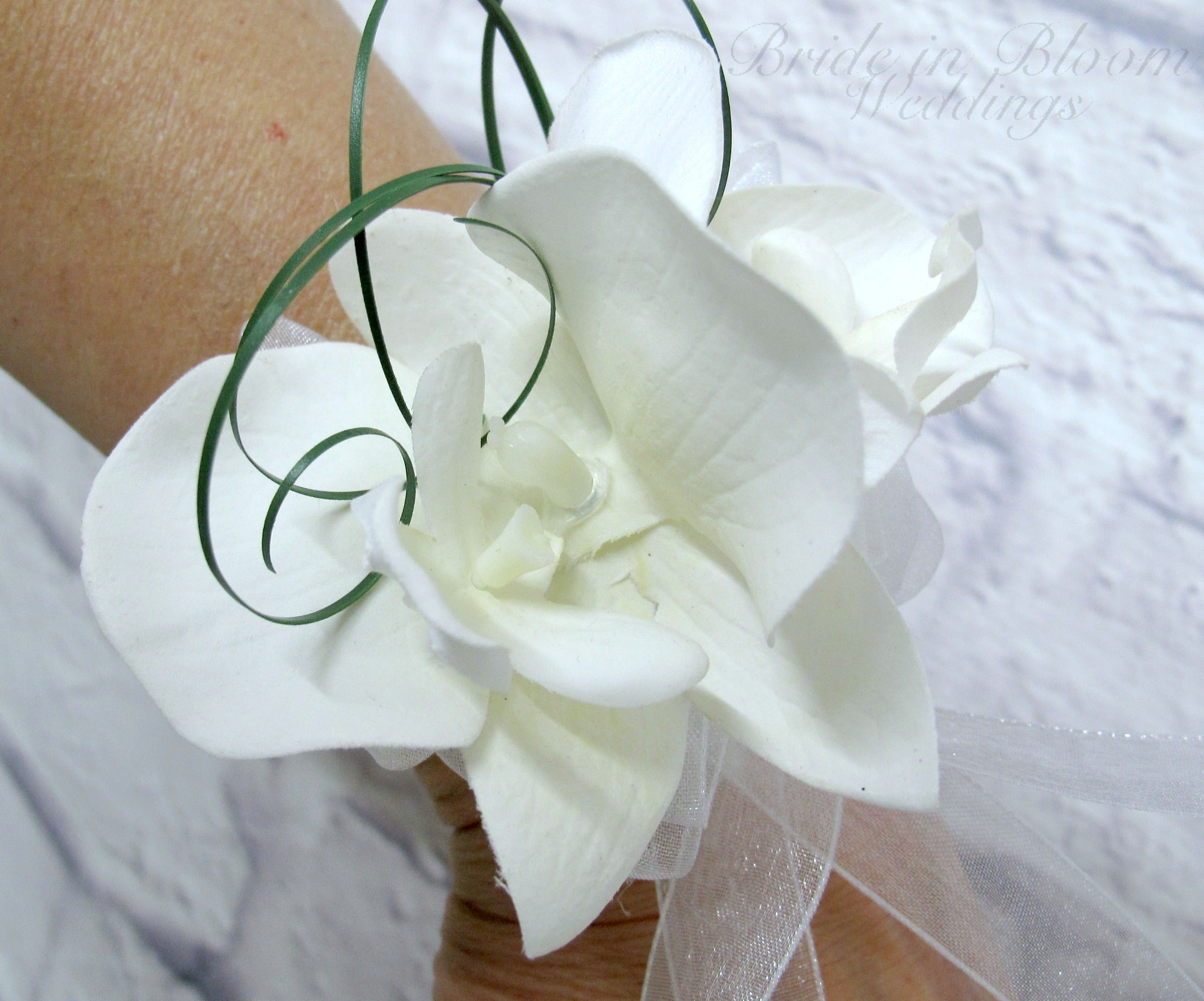White orchid wrist corsage - Mother of the bride Wedding corsage