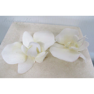 Wedding hair accessories - Orchid hair pins - White real touch orchid set of 5 Bridal hair