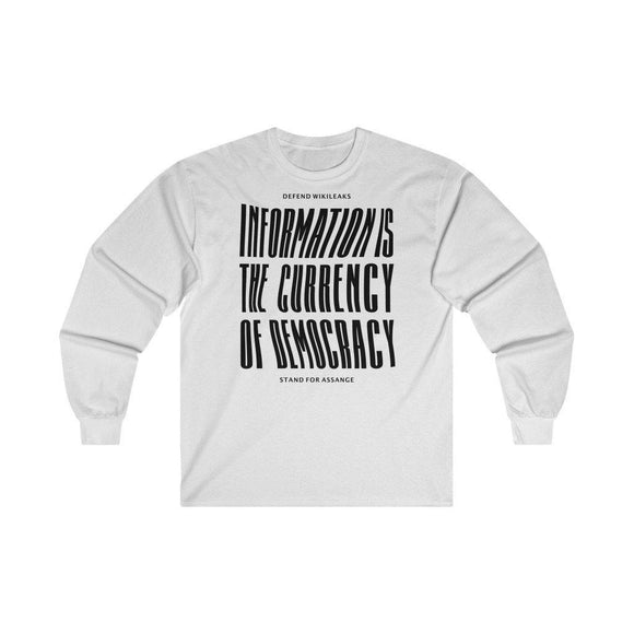 The Currency of Democracy (black text) - Unisex Long Sleeve Tee