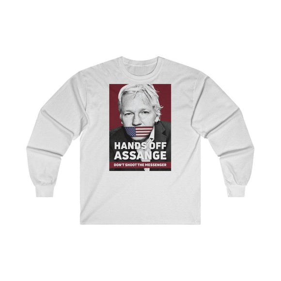 Hands Off Assange - Don't Shoot the Messenger - Unisex Long Sleeve Tee - WikiLeaks Shop EU