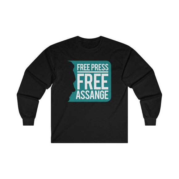 Free Press Free Assange - Unisex Long Sleeve Tee - WikiLeaks Shop EU