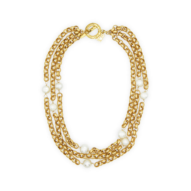 Turkish Gold Pearl Necklace