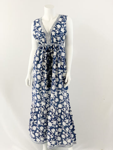 Emily Dress, Negative Navy Blue Floral Print