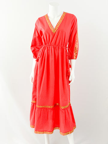 Avalon Dress - Fiery Coral with Gold Appliqué Embroidery