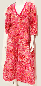 Water Mill Hi-Lo Dress in Pink and Orange Floral Block Print