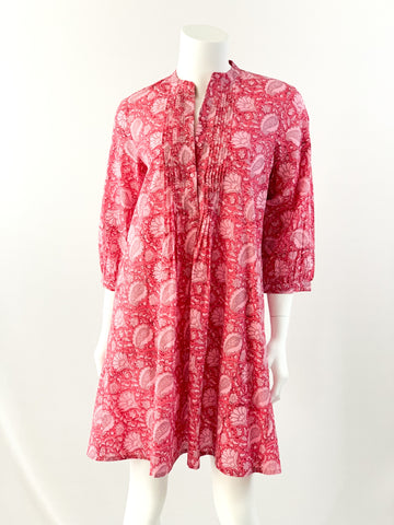 Maye Dress - Pink Floral Block Print