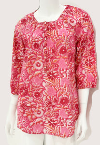 Cranlyn Tunic Top - Pink & Orange Floral