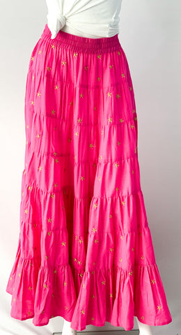 Jaipur Maxi Skirt - Bougainvillea Pink with Gold Star Embroidery