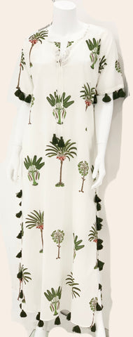 Maharani Kaftan - Palm Tree Block Print