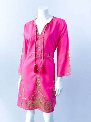 Diya Embroidered Dress - Bougainvillea Pink with Embroidery