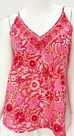 Landon Top in Pink and Orange Floral Block Print